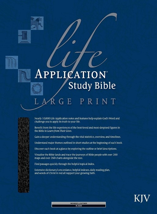 KJV Life Application Study Bible,  Large Print, Black (Bonded Leather)