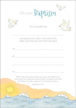 Baptism Certificate (Pack of 10) (Certificate)