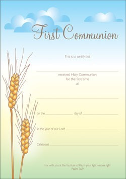 First Communion Certificate (Pack of 10) (Certificate)