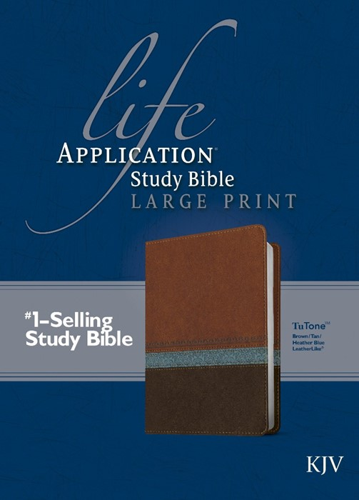 KJV Life Application Study Bible Large Print, Brown/Tan/Blue (Imitation Leather)
