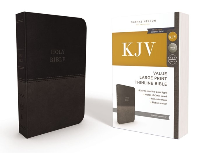 KJV Value Thinline Bible, Gray, Large Print, Red Letter Ed. (Imitation Leather)