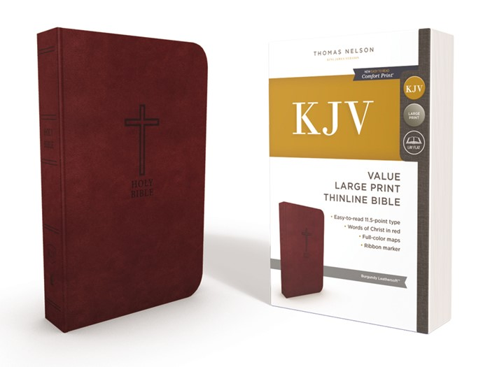 KJV Value Thinline Bible, Burgundy, Large Print, Red Letter (Imitation Leather)