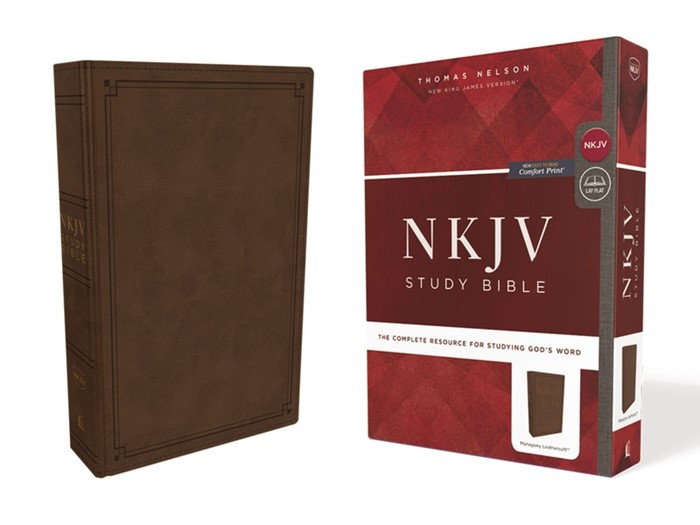 NKJV Study Bible, Brown, Comfort Print, Red Letter Edition (Imitation Leather)