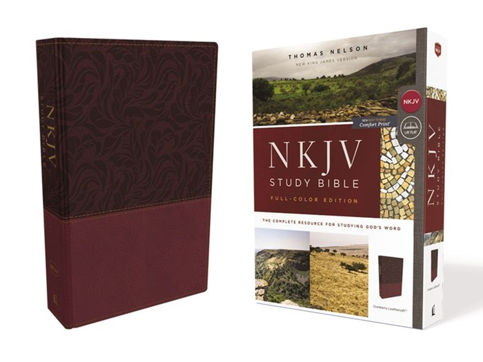 NKJV Study Bible, Red, Full-Color, Comfort Print, Red Letter (Imitation Leather)