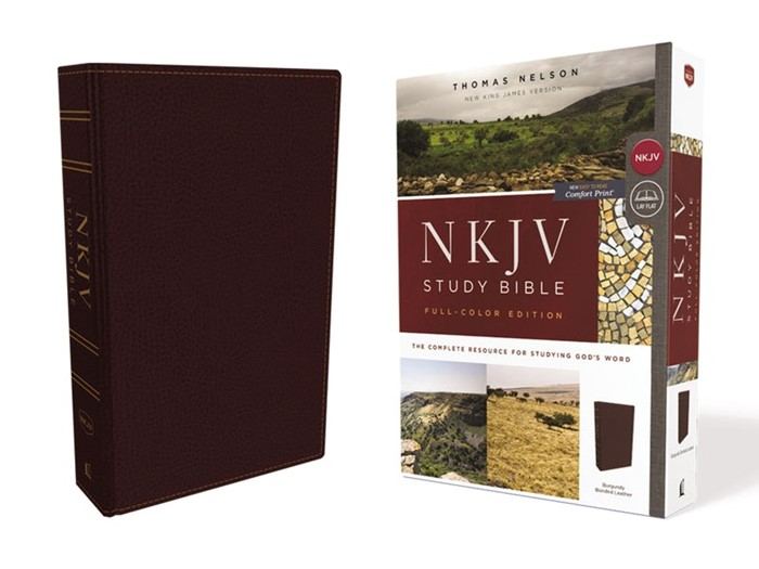 NKJV Study Bible, Burgundy, Full-Color, Red Letter Edition (Bonded Leather)