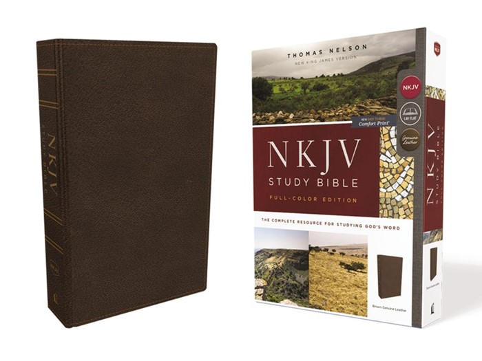 NKJV Study Bible, Brown, Full-Color, Red Letter Edition (Genuine Leather)