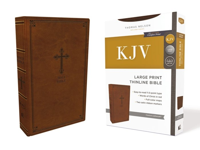 KJV Thinline Bible, Brown, Large Print, Red Letter Edition (Imitation Leather)