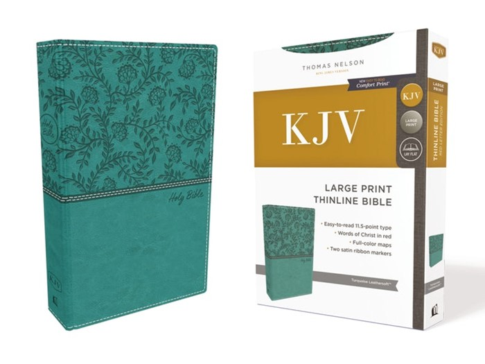 KJV Thinline Bible, Green, Large Print, Red Letter Edition (Imitation Leather)