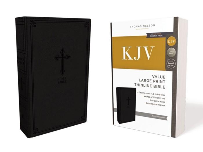 KJV Value Thinline Bible, Black, Large Print, Red Letter Ed. (Imitation Leather)