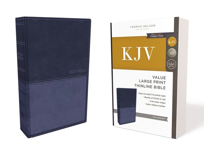 KJV Value Thinline Bible, Blue, Large Print, Red Letter Ed. (Imitation Leather)