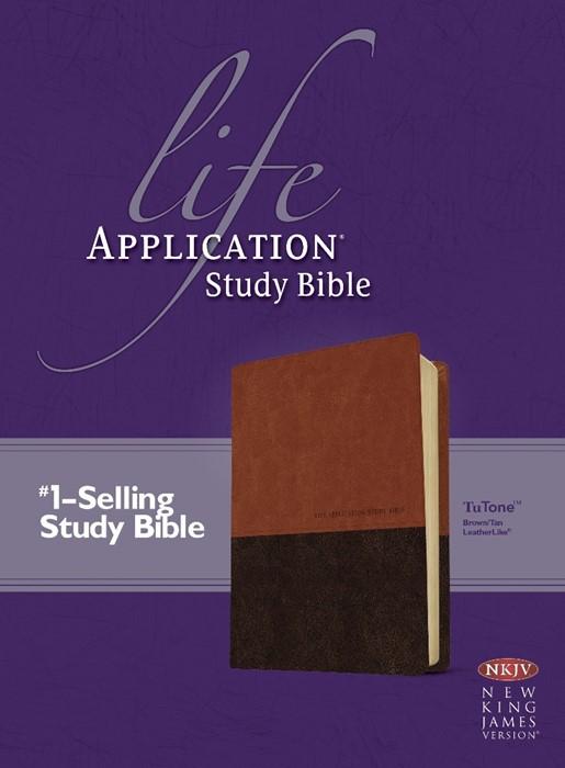 NKJV Life Application Study Bible Tutone (Leather Binding)