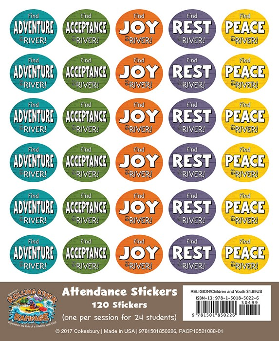 VBS 2018 Rolling River Rampage Attendance Stickers (Stickers)