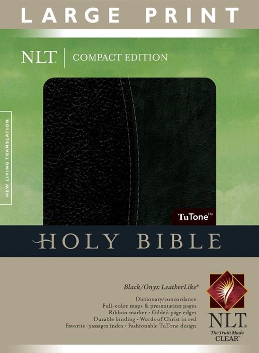NLT Compact Edition Bible Large Print Tutone Black/Onyx (Imitation Leather)