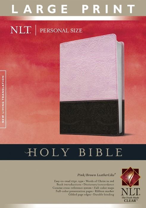 NLT Holy Bible Personal Size Large Print Pink/Brown, Indexed (Imitation Leather)