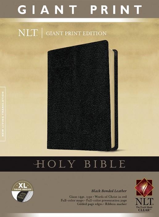 NLT Holy Bible, Giant Print, Black, Indexed (Bonded Leather)