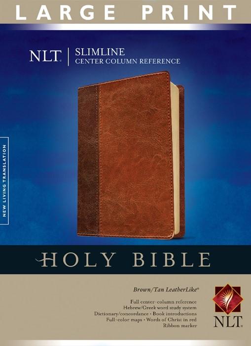 NLT Slimline Center Column Reference Bible, Large Print (Imitation Leather)