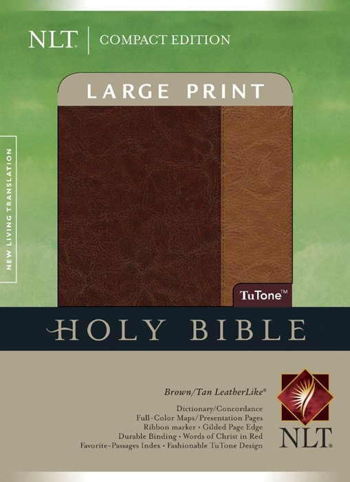 NLT Compact Bible Large Print Tutone Brown/Tan, Indexed (Imitation Leather)