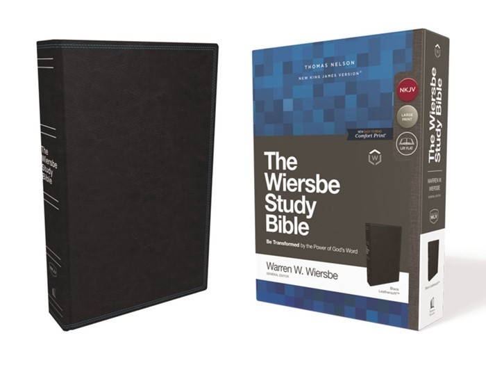 NKJV Wiersbe Study Bible, Black, Red Letter (Imitation Leather)
