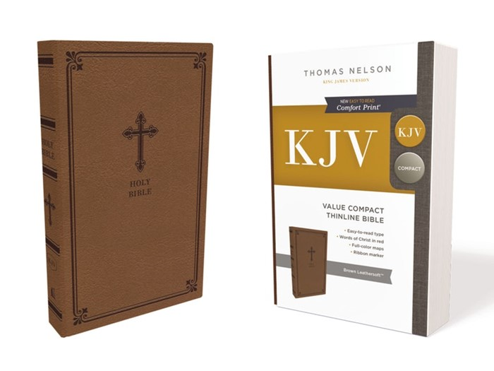 KJV Value Compact Thinline Bible, Brown, Red Letter (Imitation Leather)