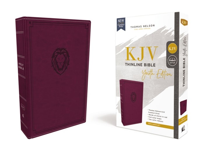 KJV Thinline Bible, Youth Edition, Burgundy, Red Letter (Imitation Leather)