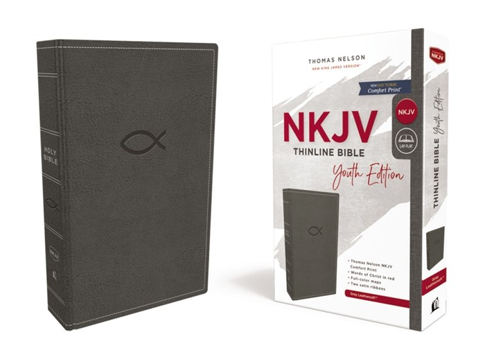 NKJV Thinline Bible, Youth Edition, Gray, Red Letter