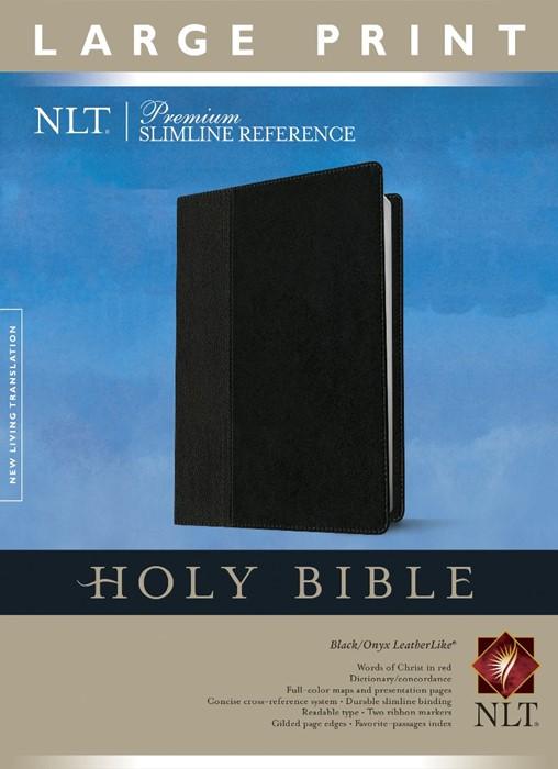 NLT Premium Slimline Reference Large Print, Black/Onyx (Imitation Leather)