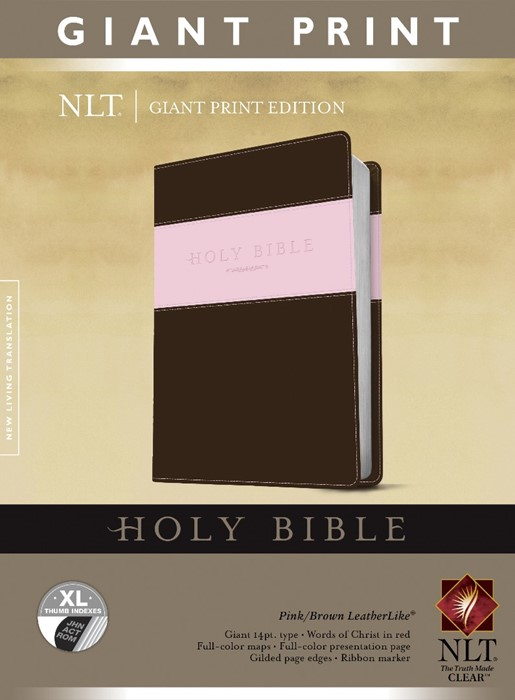 NLT Holy Bible, Giant Print, Pink/Brown, Indexed (Imitation Leather)