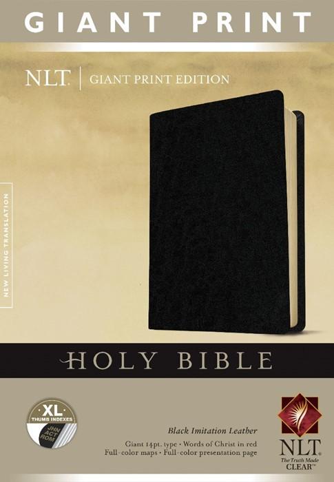 NLT Holy Bible, Giant Print, Black, Indexed (Imitation Leather)