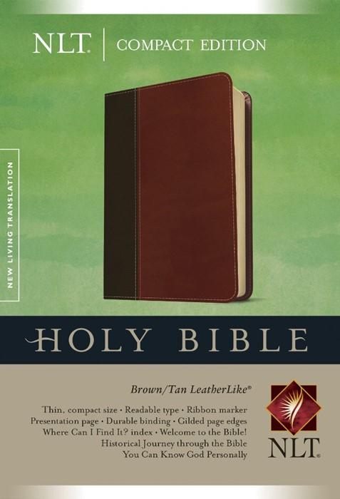 NLT Compact Bible Tutone Brown/Tan (Imitation Leather)