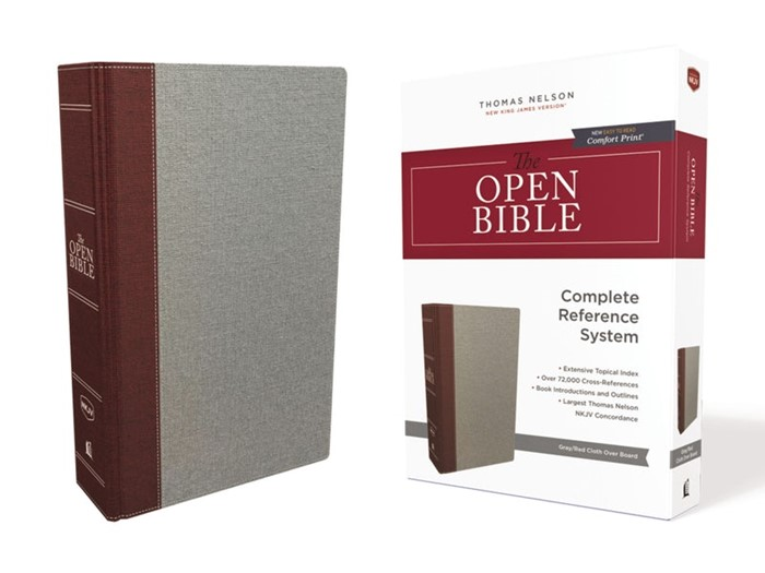 NKJV Open Bible, Red Letter Edition, Gray/Red (Cloth-Bound)
