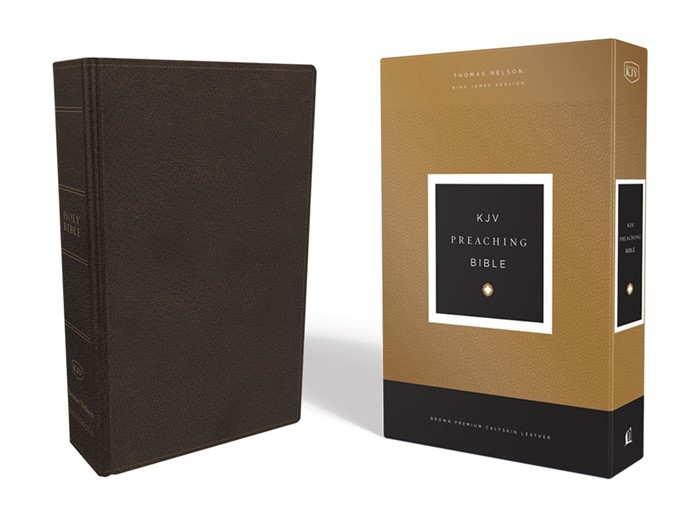 KJV Preaching Bible, Brown Calfskin Leather (Genuine Leather)