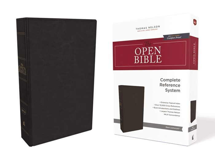 NKJV Open Bible, Black, Red Letter Edition, Comfort Print (Imitation Leather)