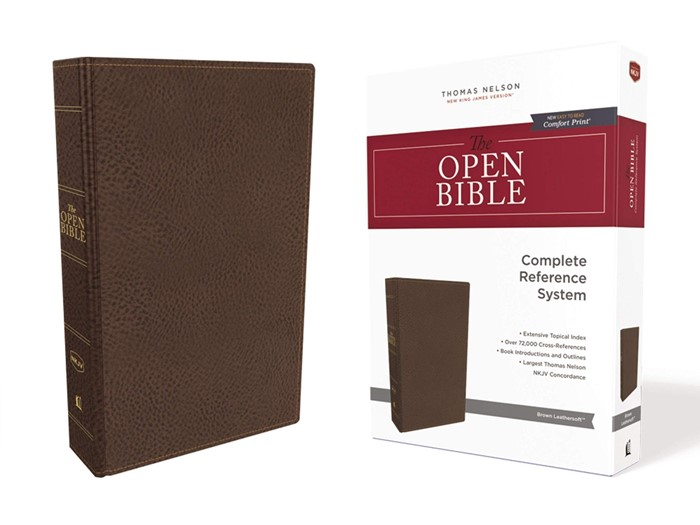NKJV Open Bible, Brown, Red Letter Edition, Comfort Print (Imitation Leather)