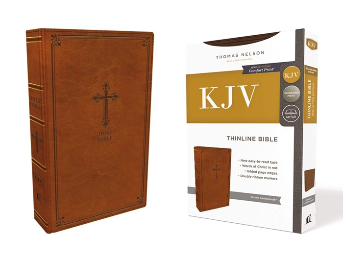 KJV Thinline Bible, Brown, Red Letter Edition, Comfort Print (Imitation Leather)