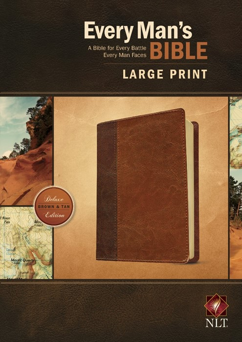 NLT Every Man's Bible Large Print Tutone Brown/Tan (Imitation Leather)