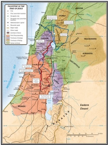 Palestine In The Time Of Jesus Map (Wall Chart)