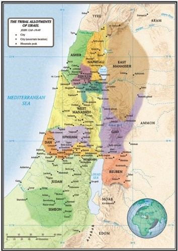 The Tribal Allotments Of Israel Map (Wall Chart)