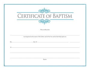 Baptism Certificate (Pack of 6)