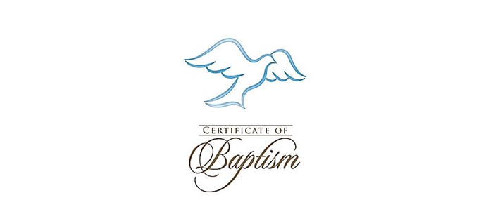 Folded Baptism Certificates With Envelopes (Certificate)