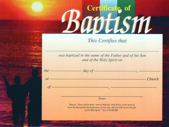 Sunset Baptism Certificate (Pack of 6) (Certificate)