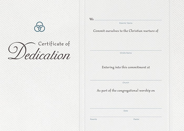 Dedication Certificate (Pack of 6)