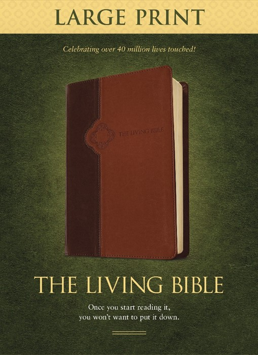 The Living Bible Large Print Edition Brown/Tan (Imitation Leather)