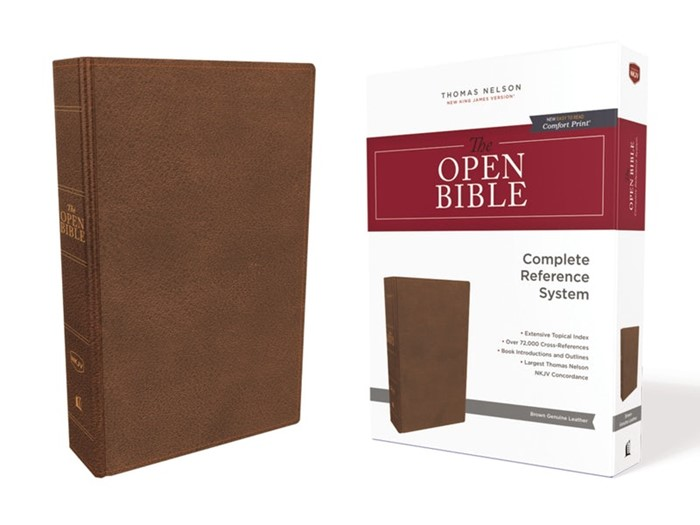 NKJV Open Bible, Brown Genuine Leather, Red Letter Edition (Genuine Leather)