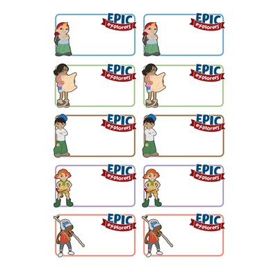 Epic Explorers Name Stickers (Pack of 5 Sheets) (Stickers)
