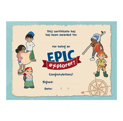 Epic Explorers Certificates (Pack of 10) (Certificate)