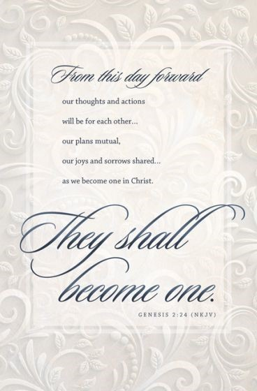 They Shall Become One Wedding Bulletin (Pack of 100) (Bulletin)