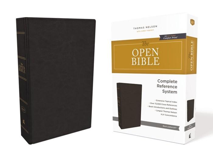 KJV Open Bible, Black, Red Letter Edition, Comfort Print (Imitation Leather)