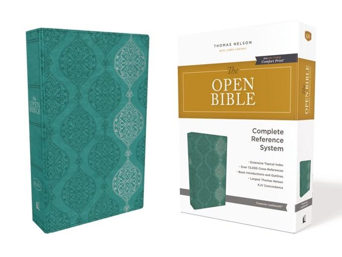 KJV Open Bible, Green, Red Letter Edition, Comfort Print (Imitation Leather)