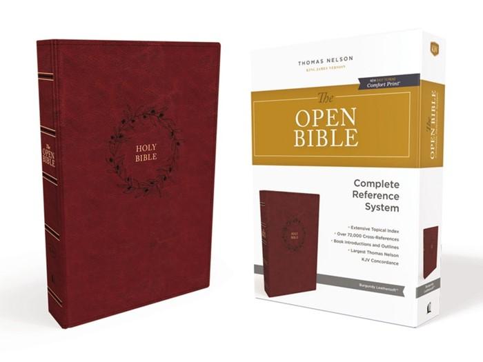 KJV Open Bible, Burgundy, Indexed, Red Letter, Comfort Print (Imitation Leather)