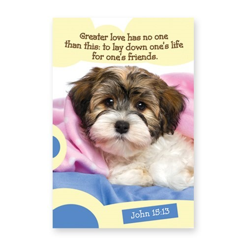 Memo Pad Cute Puppy John 15:13 (Notebook / Blank Book)